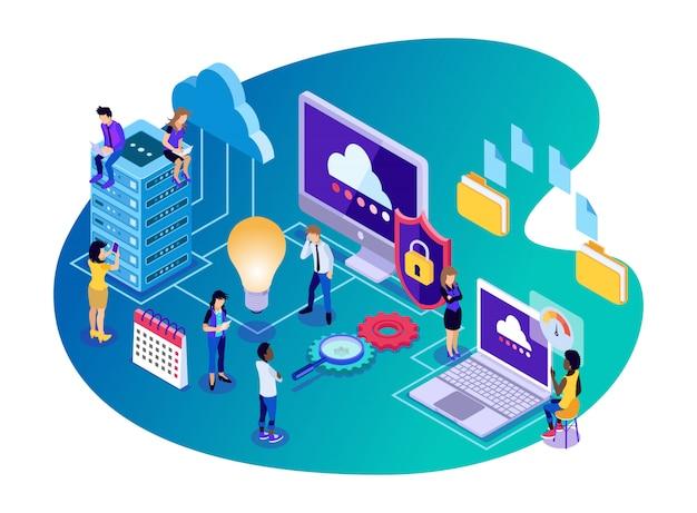 Tecnologia di archiviazione di big data come server, cloud, sicurezza, cartella di file e motori di ricerca - illustrazione isometrica