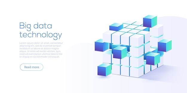 Tecnologia dei big data nella pagina di destinazione isometrica