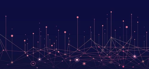 Fondo di vettore di connessione di concetto di rete sociale di sfondo di informazioni visive di grandi dati