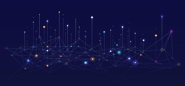 Priorità bassa di vettore di connessione di concetto di rete sociale di sfondo di informazioni visive di grandi dati