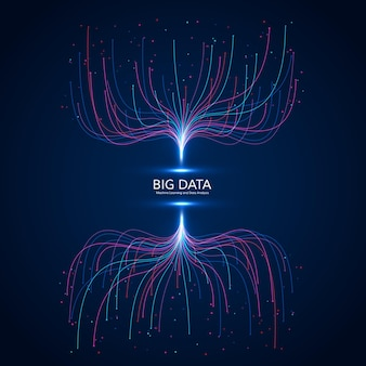 Grande concetto di visualizzazione dei dati. futuristico astratto e sfondo tecnologico. composizione di onde di musica.