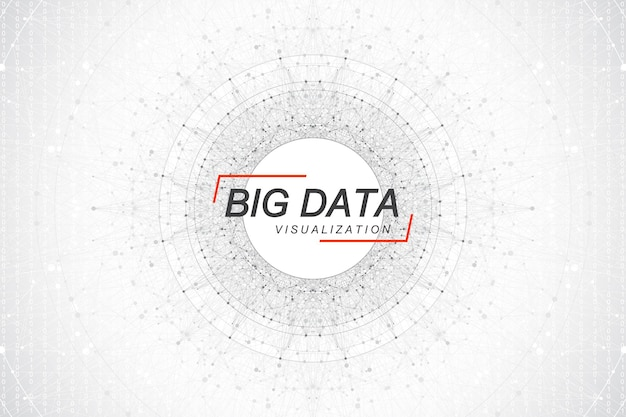 Visualizzazione di grandi dati. algoritmi di apprendimento automatico dei big data. visualizzazione di array di dati. complessità delle informazioni visive. analisi futuristica di infografica informazioni. illustrazione vettoriale.