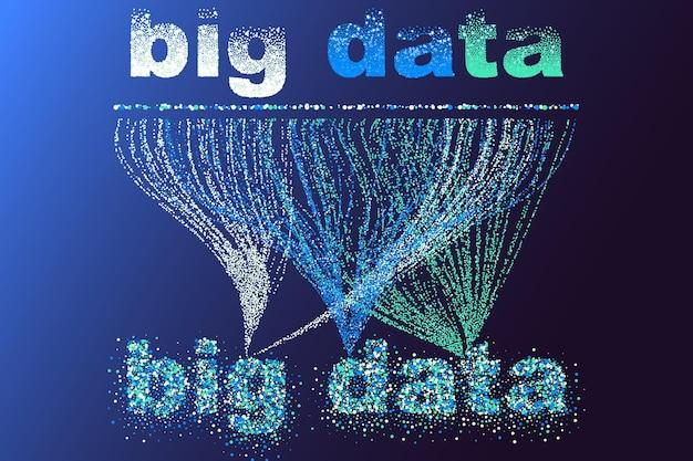 Rete di visualizzazione di big data. infografica futuristica, onda 3d, flusso virtuale, suono digitale, musica. informazioni di big data colorate astratte di vettore.