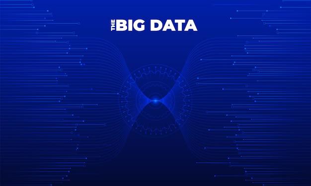 Visualizzazione di big data. analisi visiva della complessità dei dati. infografica di concetto. rappresentazione grafica della linea di informazioni. grafico dati astratto. illustrazione