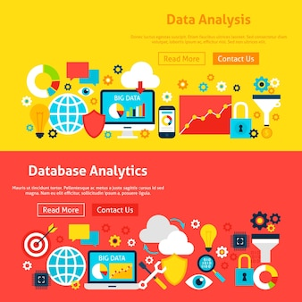 Banner di siti web di big data. illustrazione vettoriale per intestazione web. design piatto di analisi aziendale.