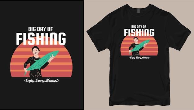 Grande giornata di pesca, design della maglietta da pesca.