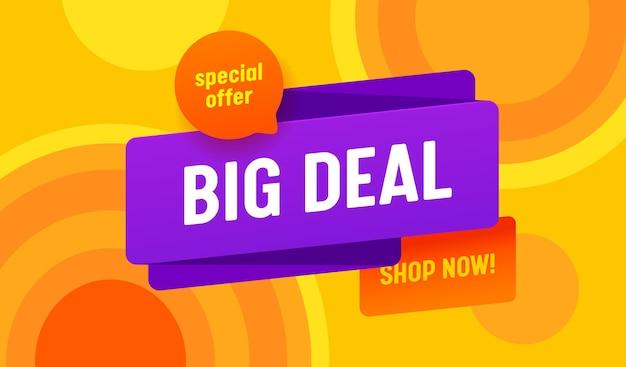 Banner pubblicitario di vendita di grande affare con tipografia su sfondo colorato