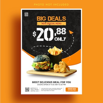 Modello di banner menu cibo grandi affari