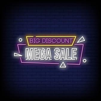 Grande sconto mega vendita insegne al neon in stile testo