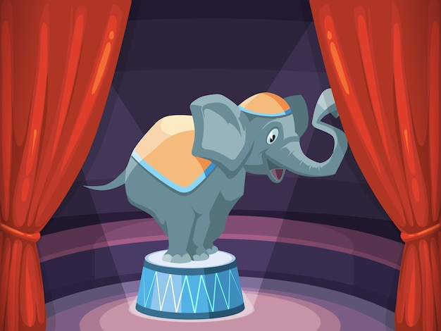 Grande elefante sull'arena del circo