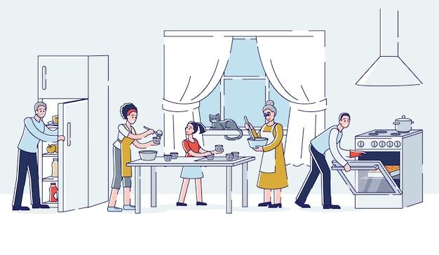 Grande famiglia che cucina insieme a casa cucina. una famiglia di tre generazioni che prepara il cibo