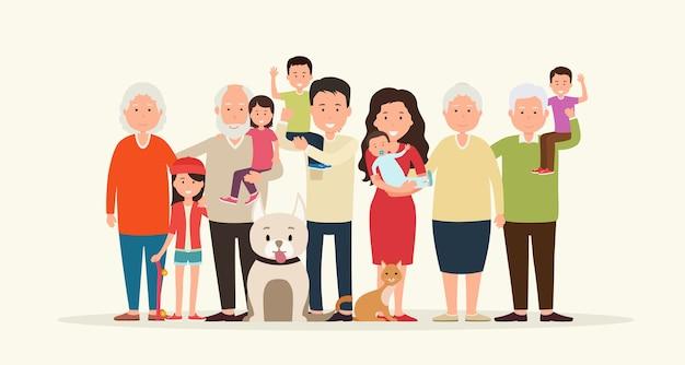 Grande famiglia insieme. genitori e figli, nonni insieme agli animali.