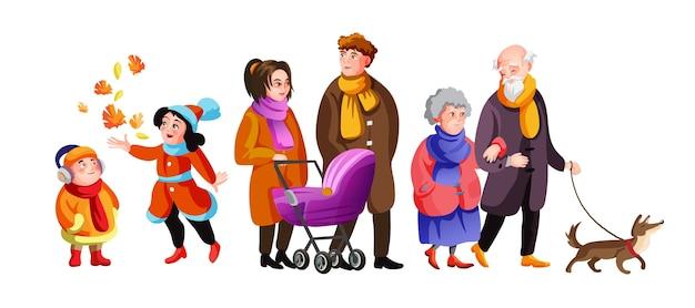 Grande famiglia che cammina insieme alla via di autunno. simpatici nonni, genitori, bambini e cane che trascorrono del tempo all'aperto.