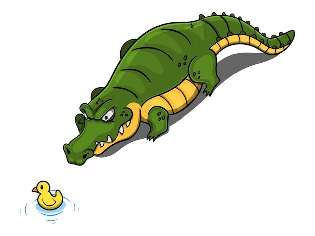 Personaggi dei cartoni animati di big fat alligator che scattano una vasca da bagno Vettore Premium