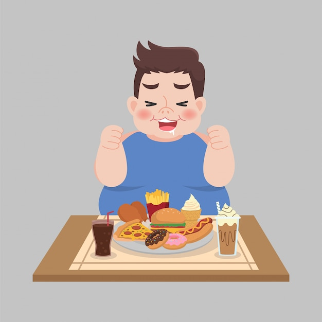Big fat happy man gode di mangiare fast food