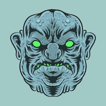 Illustrazione di big fat head of monster
