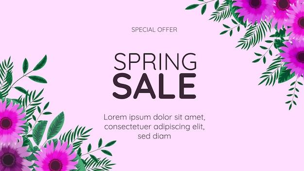 Grande modello finale del fondo della struttura floreale dell'insegna di vendita di primavera con il posto per il vostro testo per il web