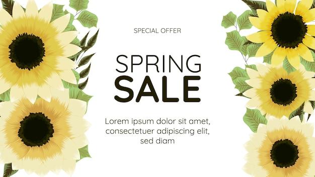Grande modello finale del fondo della cornice floreale dell'insegna di vendita di primavera finale con il posto per il vostro testo per il web