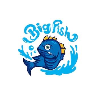 Modello di progettazione del logo del club della squadra di pesca dell'amo da pesca grande