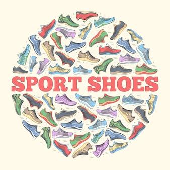 Set di raccolta illustrazione piatto grande di scarpe da ginnastica in esecuzione