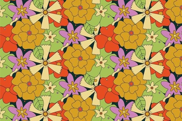 Modello groovy disegnato a mano di grandi fiori