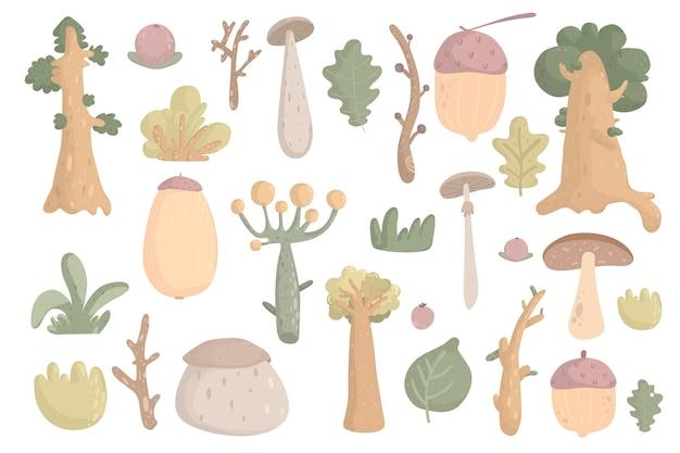 Grande foresta piante clipart collezione bosco alberi erbe funghi rami bacche foglie