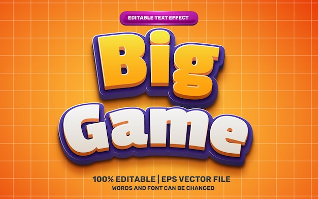 Grande gioco bambini fumetto eroe comico effetto testo modificabile 3d