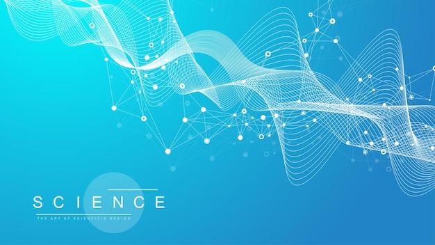 Visualizzazione di grandi dati genomici. elica del dna, filamento del dna, test del dna. crispr cas9 - ingegneria genetica. molecola o atomo, neuroni. struttura astratta per scienza o sfondo medico, banner. flusso dell'onda.
