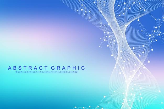 Visualizzazione di grandi dati genomici. elica del dna, filamento del dna, test del dna. molecola o atomo, neuroni. struttura astratta per scienza o sfondo medico, banner.