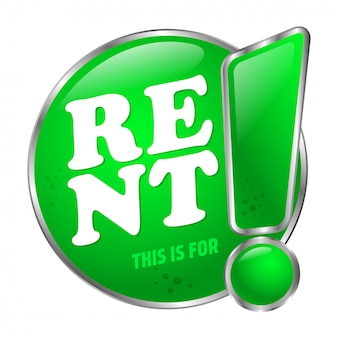 Grande pulsante verde questo è in affitto. adesivo sulla porta. stile 3d. Vettore Premium
