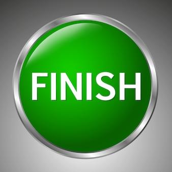 Grande pulsante di finitura verde su sfondo grigio. stile 3d.