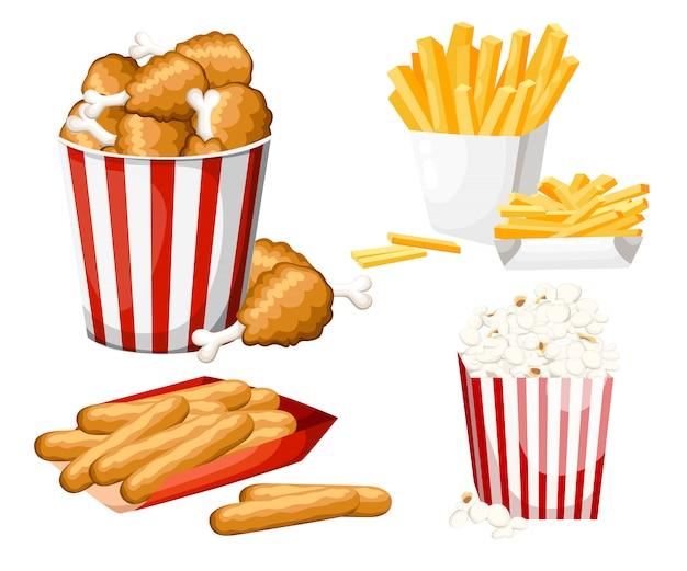 Grande gruppo di prodotti fast food. illustrazione su sfondo bianco. set di bastoncini di formaggio, popcorn, patatine fritte, pollo fritto nel secchio a strisce.
