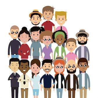 Moda etnica multiculturale di grandi gruppi di persone
