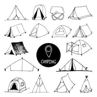 Set di clip art per tenda da campo vettoriale disegnato a mano grande design da viaggio