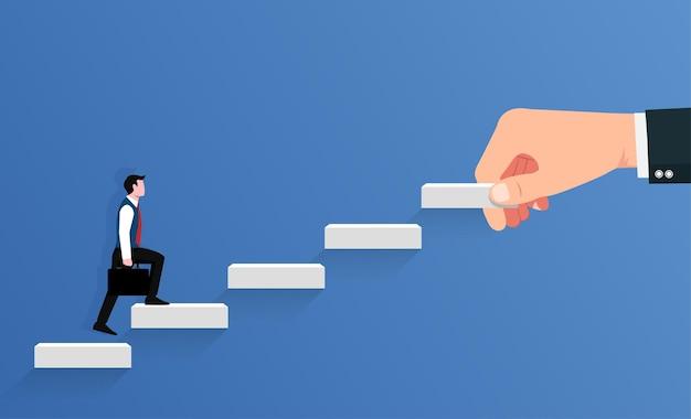 La grande mano supporta il simbolo di sviluppo della carriera