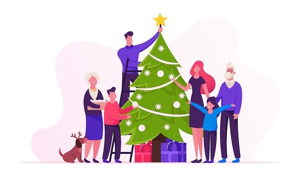 Grande famiglia felice decora insieme l'albero di natale preparati per le vacanze invernali. cartoon illustrazione piatta