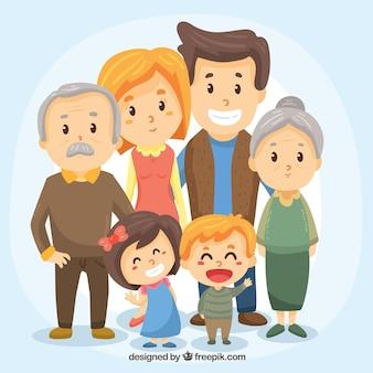 Grande famiglia felice con stile disegnato a mano