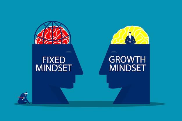 La grande testa umana pensa alla crescita mentalità diversa mentalità fissa