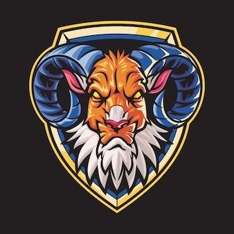 Big horn capra esport logo illustrazione