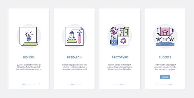 Processi educativi per la ricerca di grandi idee ux, set di schermate della pagina dell'app per dispositivi mobili di onboarding dell'interfaccia utente Vettore Premium