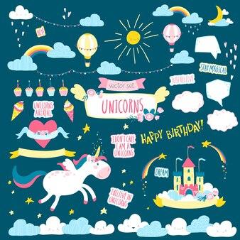 Grande set magico con unicorno isolato sull'azzurro