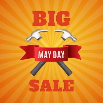 Grande vendita del primo maggio. primo maggio. sfondo festa del lavoro con due hummer e nastro rosso.