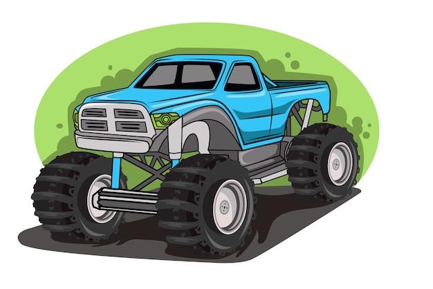 Grande monster truck, enorme veicolo pesante, fuoristrada. isolato su sfondo bianco