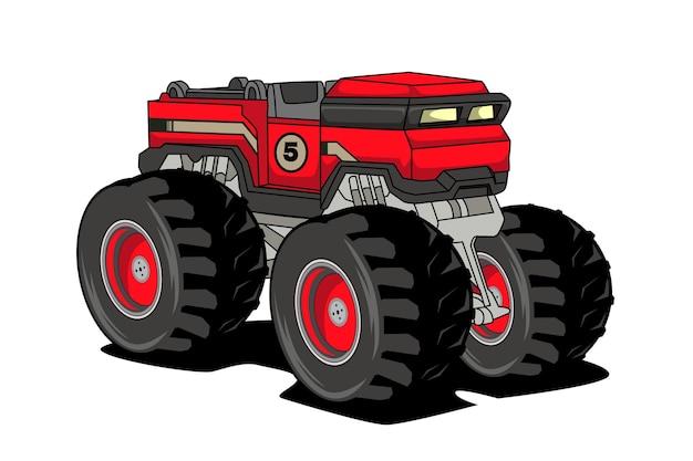 Grande disegno della mano dell'illustrazione del trattore del camion del mostro