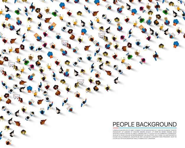 Grande folla di persone su sfondo bianco. illustrazione vettoriale.