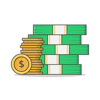Grande mucchio di denaro contante e monete icona illustrazione