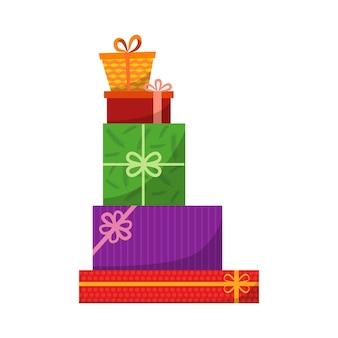 Grande mucchio di scatole regalo incartate colorate. regali di montagna. bellissima scatola regalo con fiocco travolgente. icona della confezione regalo.