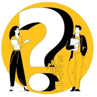Grande punto interrogativo concetto di design piatto di faq