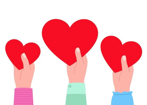 Grandi cuori rossi nelle mani come simbolo dell'illustrazione di amore