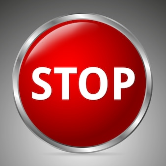 Grande pulsante di arresto rosso su sfondo grigio. stile 3d.